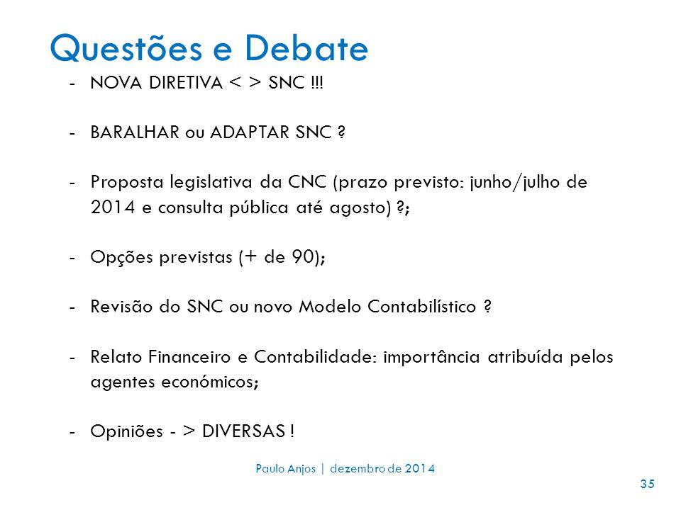 Questões e Debate 35 - Paulo Anjos | dezembro de 2014 35 -NOVA DIRETIVA SNC !!.