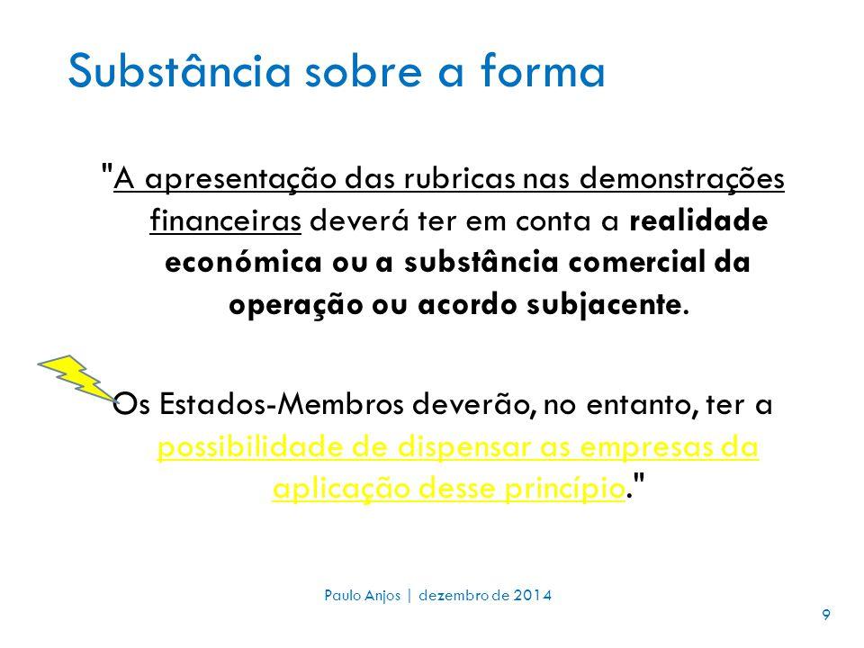 Substância sobre a forma A apresentação das rubricas nas demonstrações financeiras deverá ter em conta a realidade económica ou a substância comercial da operação ou acordo subjacente.