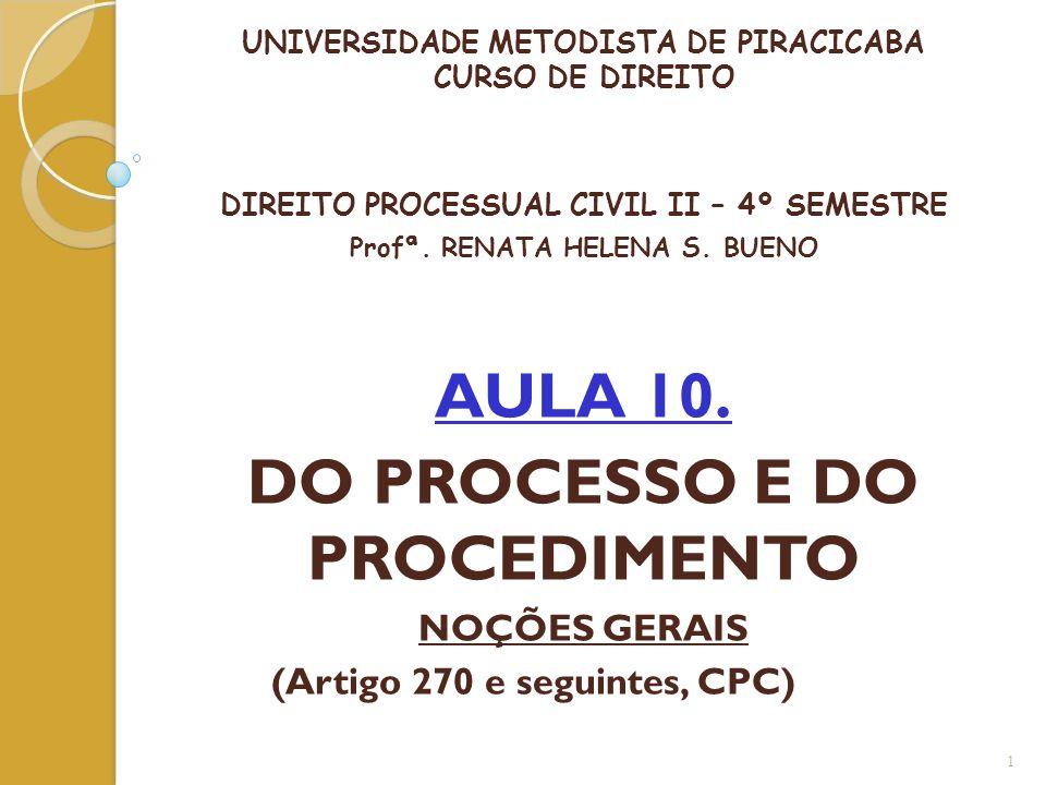 UNIVERSIDADE METODISTA DE PIRACICABA CURSO DE DIREITO DIREITO PROCESSUAL CIVIL II – 4º SEMESTRE Profª. RENATA HELENA S. BUENO AULA 10. DO PROCESSO E D