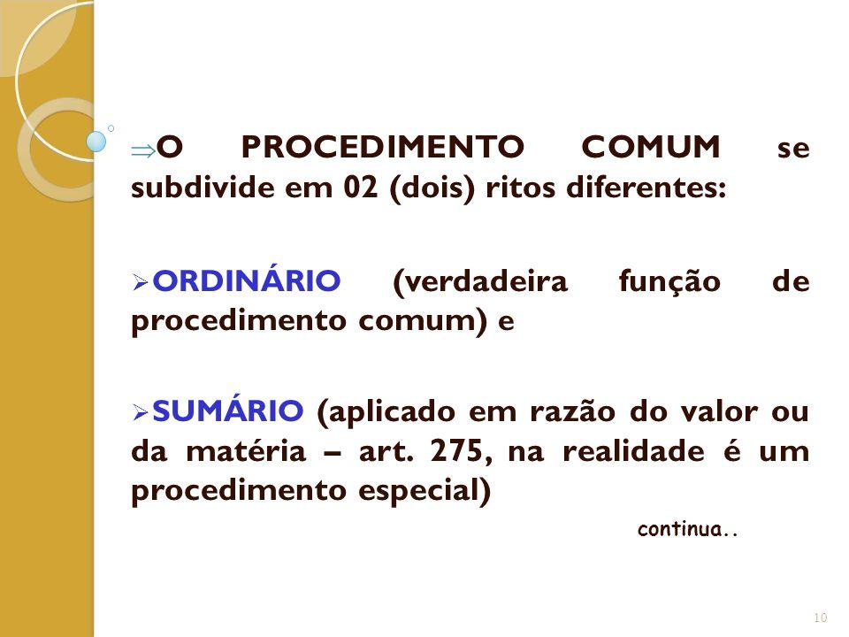  O PROCEDIMENTO COMUM se subdivide em 02 (dois) ritos diferentes:  ORDINÁRIO (verdadeira função de procedimento comum) e  SUMÁRIO (aplicado em razã