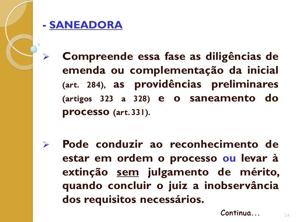 - SANEADORA  Compreende essa fase as diligências de emenda ou complementação da inicial (art. 284), as providências preliminares (artigos 323 a 328)