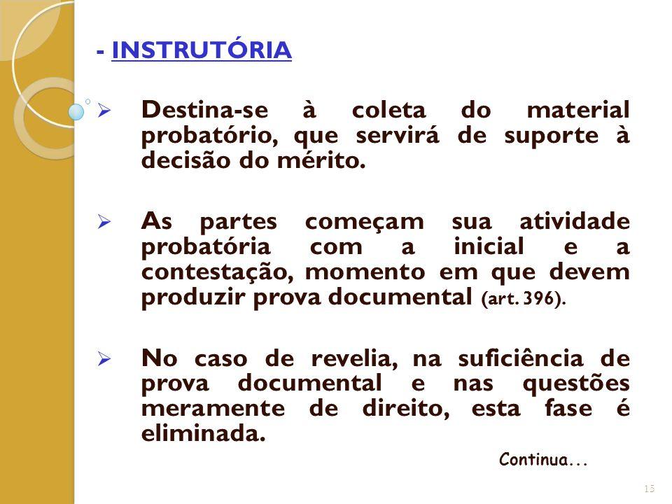- INSTRUTÓRIA  Destina-se à coleta do material probatório, que servirá de suporte à decisão do mérito.  As partes começam sua atividade probatória c
