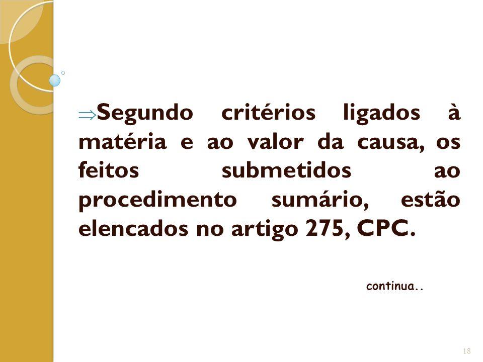  Segundo critérios ligados à matéria e ao valor da causa, os feitos submetidos ao procedimento sumário, estão elencados no artigo 275, CPC. continua.
