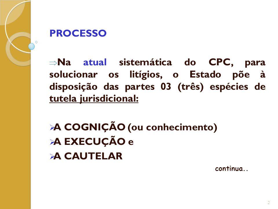 PROCESSO  Na atual sistemática do CPC, para solucionar os litígios, o Estado põe à disposição das partes 03 (três) espécies de tutela jurisdicional: