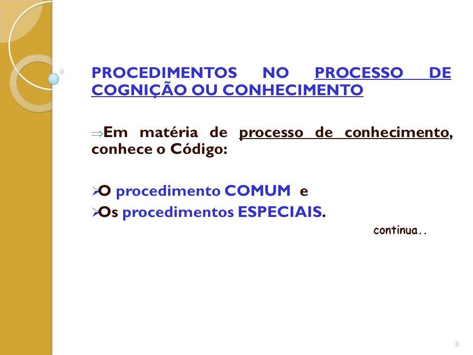 PROCEDIMENTOS NO PROCESSO DE COGNIÇÃO OU CONHECIMENTO  Em matéria de processo de conhecimento, conhece o Código:  O procedimento COMUM e  Os proced