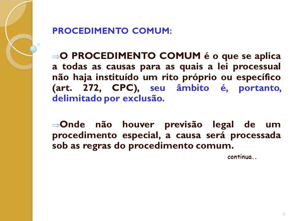 PROCEDIMENTO COMUM:  O PROCEDIMENTO COMUM é o que se aplica a todas as causas para as quais a lei processual não haja instituído um rito próprio ou e
