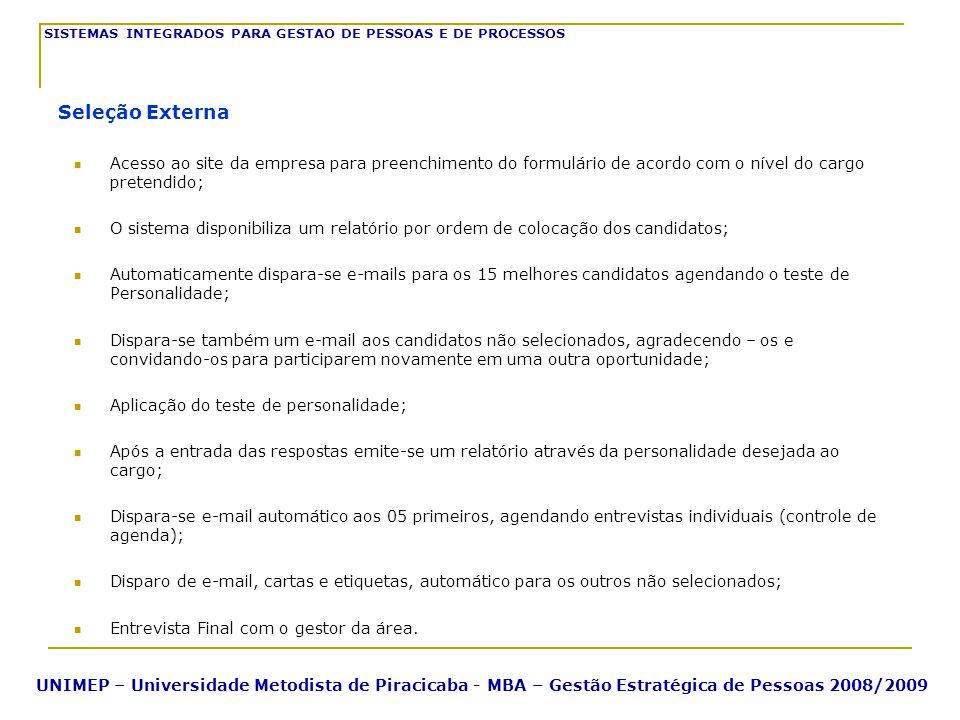Acesso ao site da empresa para preenchimento do formulário de acordo com o nível do cargo pretendido; O sistema disponibiliza um relatório por ordem d