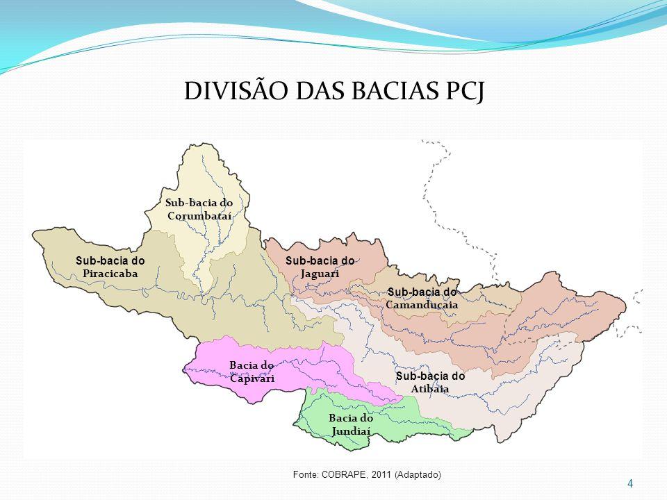 4 Sub-bacia do Corumbataí Sub-bacia do Camanducaia Sub-bacia do Jaguari Sub-bacia do Atibaia Sub-bacia do Piracicaba Bacia do Capivari Bacia do Jundiaí DIVISÃO DAS BACIAS PCJ Fonte: COBRAPE, 2011 (Adaptado)