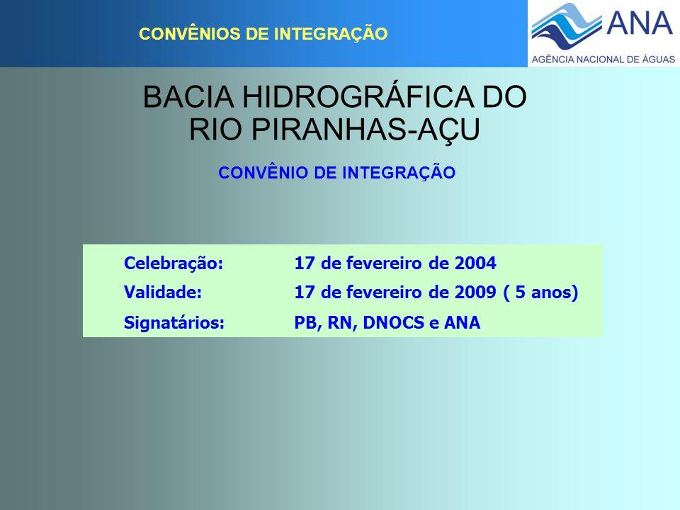 BACIA HIDROGRÁFICA DO RIO PIRANHAS-AÇU CONVÊNIOS DE INTEGRAÇÃO CONVÊNIO DE INTEGRAÇÃO Celebração: 17 de fevereiro de 2004 Validade: 17 de fevereiro de
