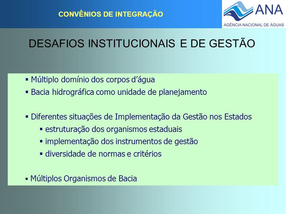 CONVÊNIOS DE INTEGRAÇÃO DESAFIOS INSTITUCIONAIS E DE GESTÃO  Múltiplo domínio dos corpos d'água  Bacia hidrográfica como unidade de planejamento  D