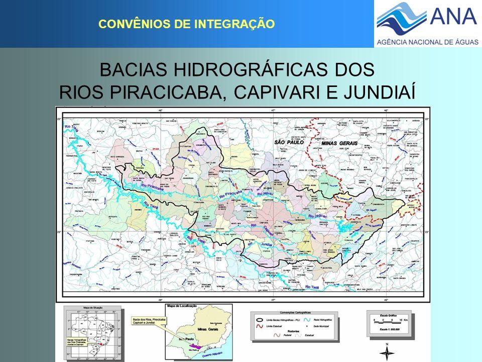 BACIAS HIDROGRÁFICAS DOS RIOS PIRACICABA, CAPIVARI E JUNDIAÍ CONVÊNIOS DE INTEGRAÇÃO CONVÊNIO DE INTEGRAÇÃO Celebração: 02 de agosto de 2004 Validade: 02 de agosto de 2009 ( 5 anos) Signatários:Comitê PCJ, MG, SP e ANA