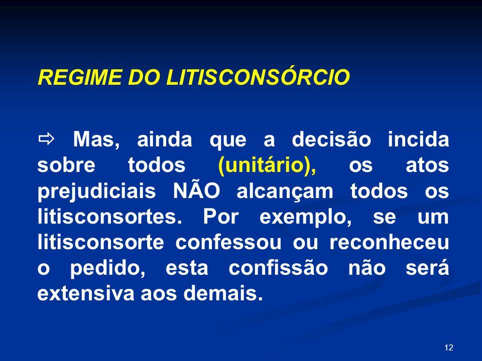 12 REGIME DO LITISCONSÓRCIO  Mas, ainda que a decisão incida sobre todos (unitário), os atos prejudiciais NÃO alcançam todos os litisconsortes. Por e