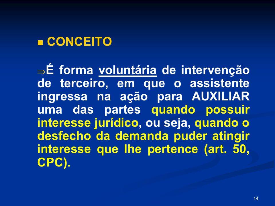 14 CONCEITO   É forma voluntária de intervenção de terceiro, em que o assistente ingressa na ação para AUXILIAR uma das partes quando possuir intere