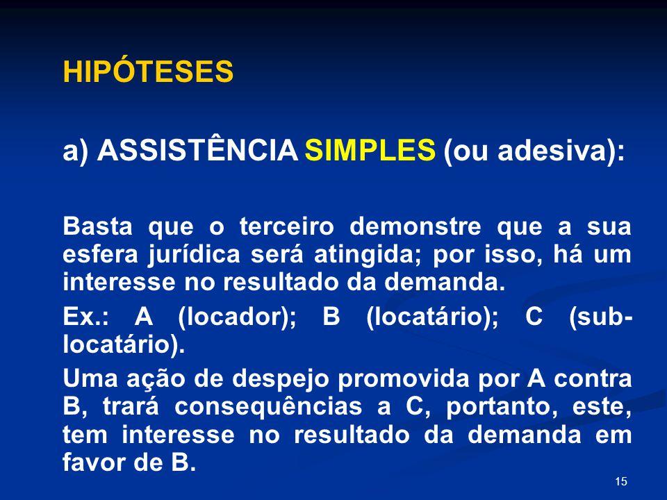 15 HIPÓTESES a) ASSISTÊNCIA SIMPLES (ou adesiva): Basta que o terceiro demonstre que a sua esfera jurídica será atingida; por isso, há um interesse no resultado da demanda.