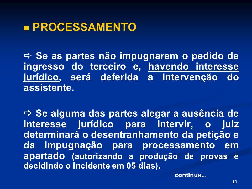 19 PROCESSAMENTO  Se as partes não impugnarem o pedido de ingresso do terceiro e, havendo interesse jurídico, será deferida a intervenção do assistente.