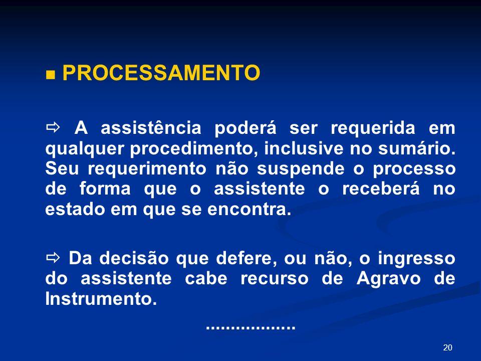 20 PROCESSAMENTO  A assistência poderá ser requerida em qualquer procedimento, inclusive no sumário. Seu requerimento não suspende o processo de form