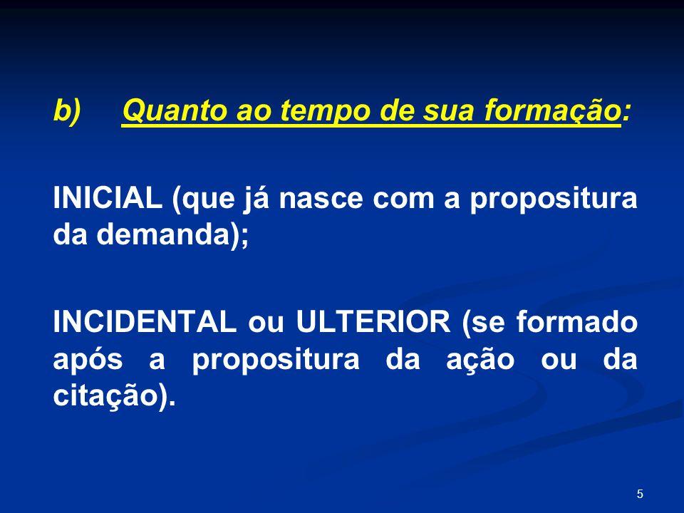 5 b) Quanto ao tempo de sua formação: INICIAL (que já nasce com a propositura da demanda); INCIDENTAL ou ULTERIOR (se formado após a propositura da aç
