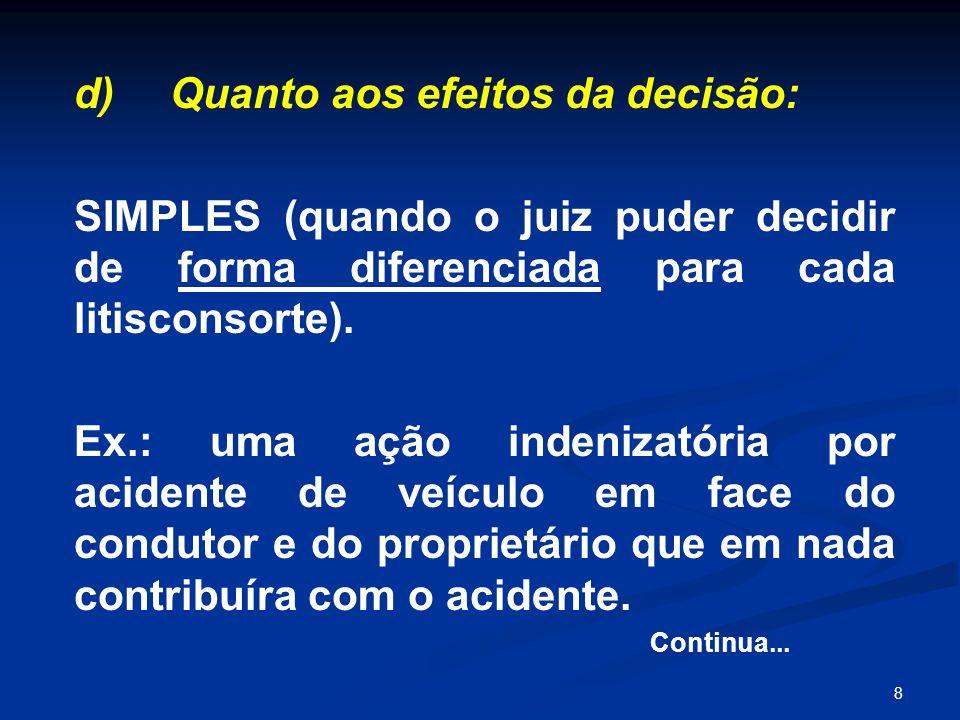 8 d) Quanto aos efeitos da decisão: SIMPLES (quando o juiz puder decidir de forma diferenciada para cada litisconsorte). Ex.: uma ação indenizatória p