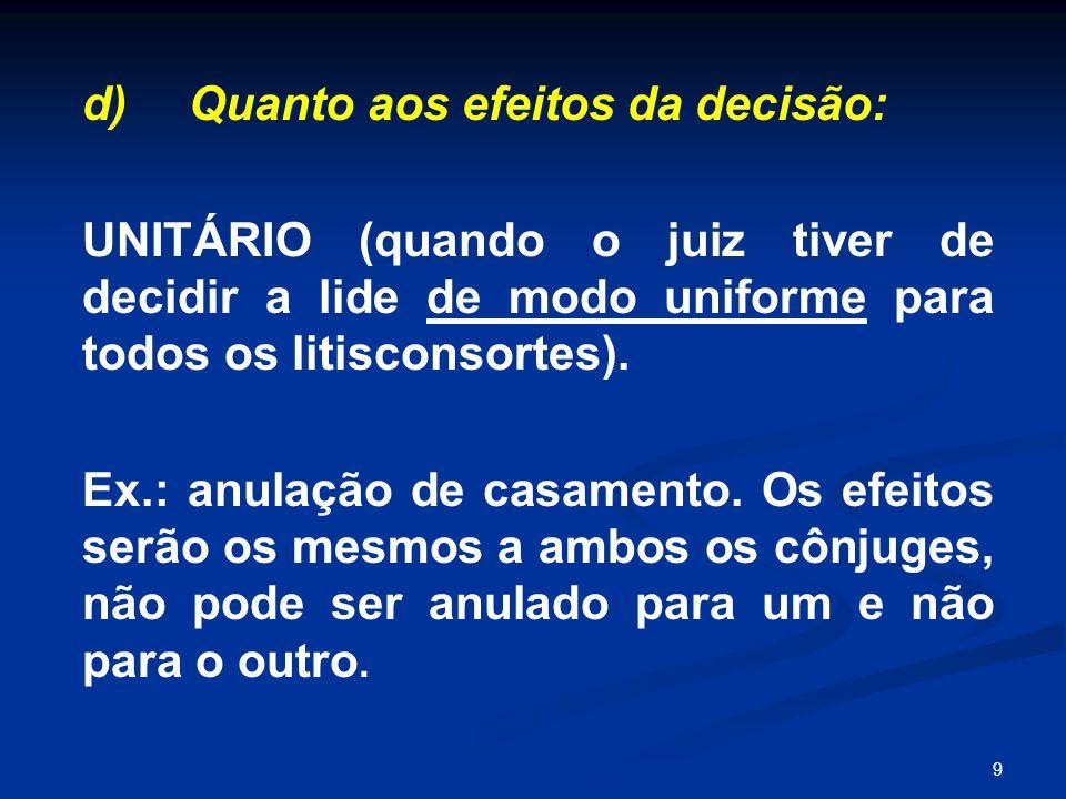 9 d) Quanto aos efeitos da decisão: UNITÁRIO (quando o juiz tiver de decidir a lide de modo uniforme para todos os litisconsortes). Ex.: anulação de c