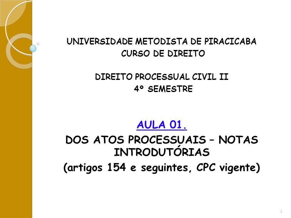 UNIVERSIDADE METODISTA DE PIRACICABA CURSO DE DIREITO DIREITO PROCESSUAL CIVIL II 4º SEMESTRE AULA 01. DOS ATOS PROCESSUAIS – NOTAS INTRODUTÓRIAS (art