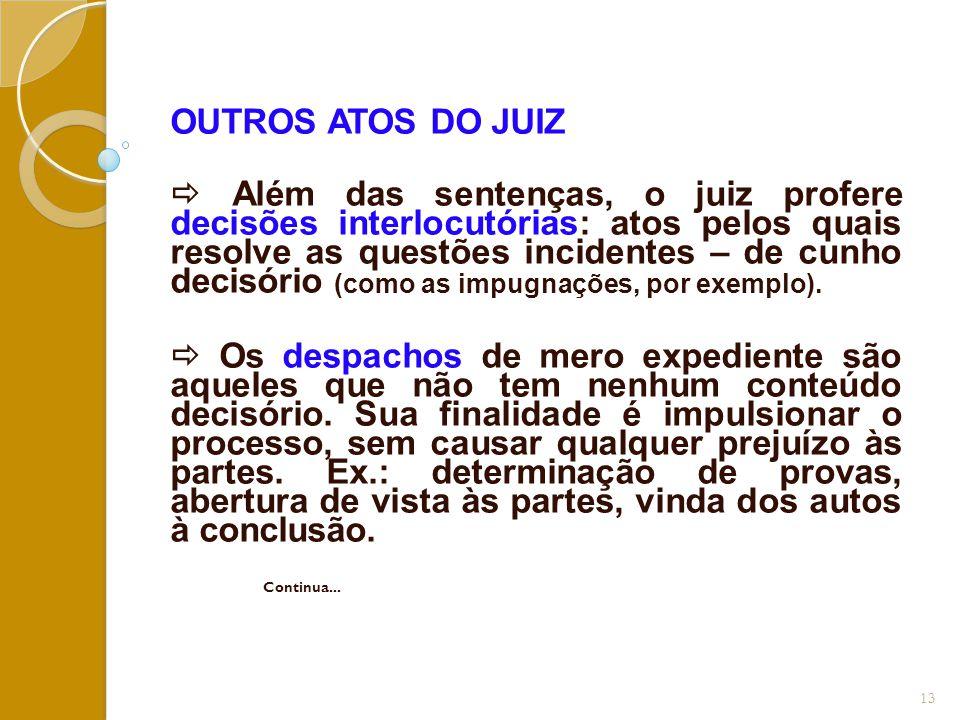 OUTROS ATOS DO JUIZ  Além das sentenças, o juiz profere decisões interlocutórias: atos pelos quais resolve as questões incidentes – de cunho decisóri