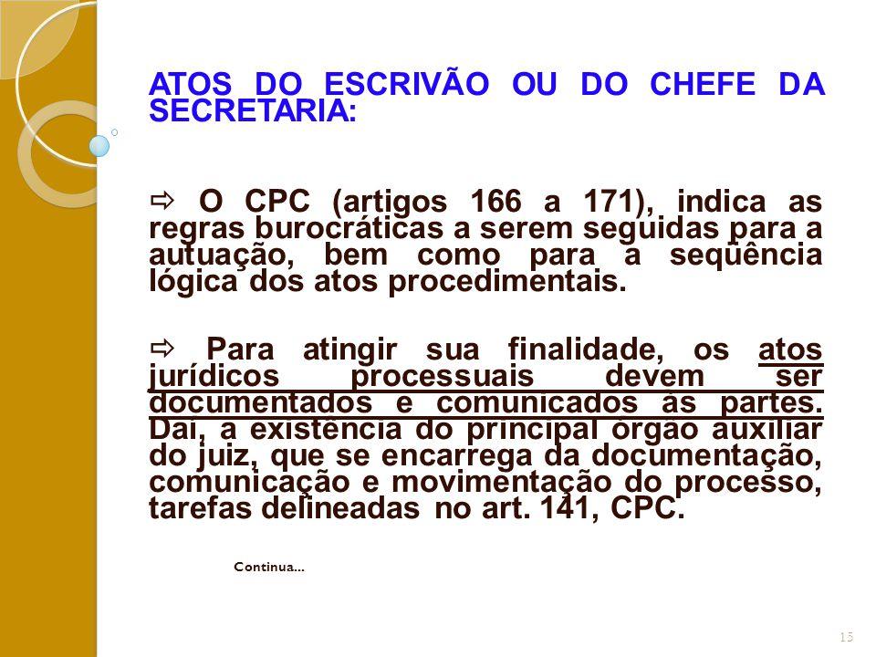 ATOS DO ESCRIVÃO OU DO CHEFE DA SECRETARIA:  O CPC (artigos 166 a 171), indica as regras burocráticas a serem seguidas para a autuação, bem como para