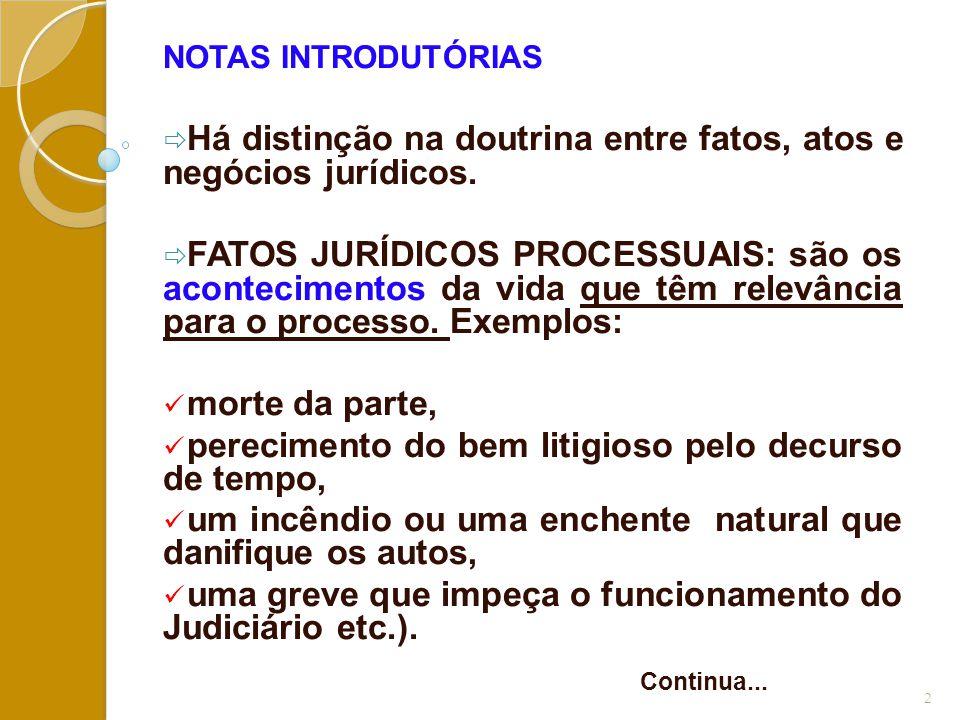NOTAS INTRODUTÓRIAS  Há distinção na doutrina entre fatos, atos e negócios jurídicos.  FATOS JURÍDICOS PROCESSUAIS: são os acontecimentos da vida qu