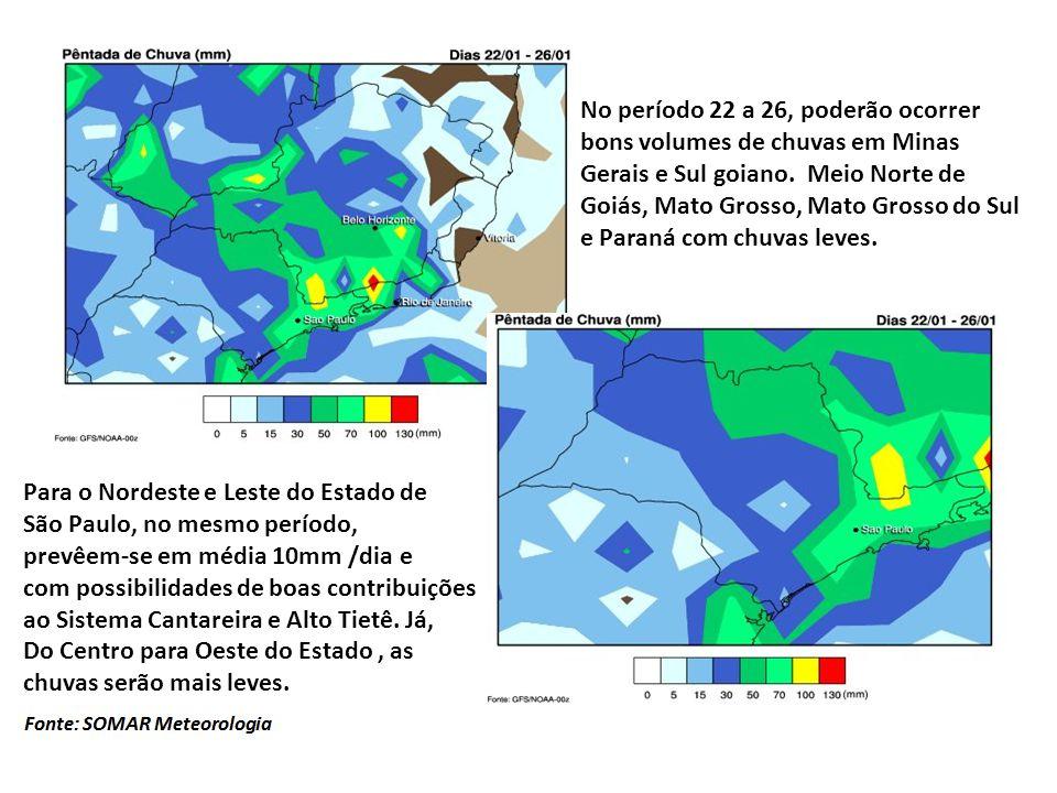 De 27 ao final de Janeiro, as chuvas mais intensas poderão ocorrer nas regiões mineiras do Sudoeste e Pontal do Triângulo.