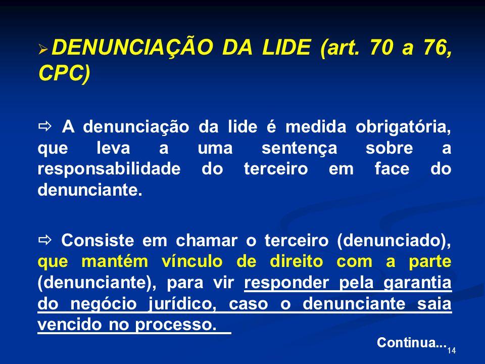14   DENUNCIAÇÃO DA LIDE (art.