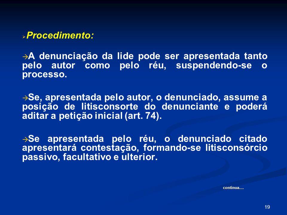 19   Procedimento:   A denunciação da lide pode ser apresentada tanto pelo autor como pelo réu, suspendendo-se o processo.