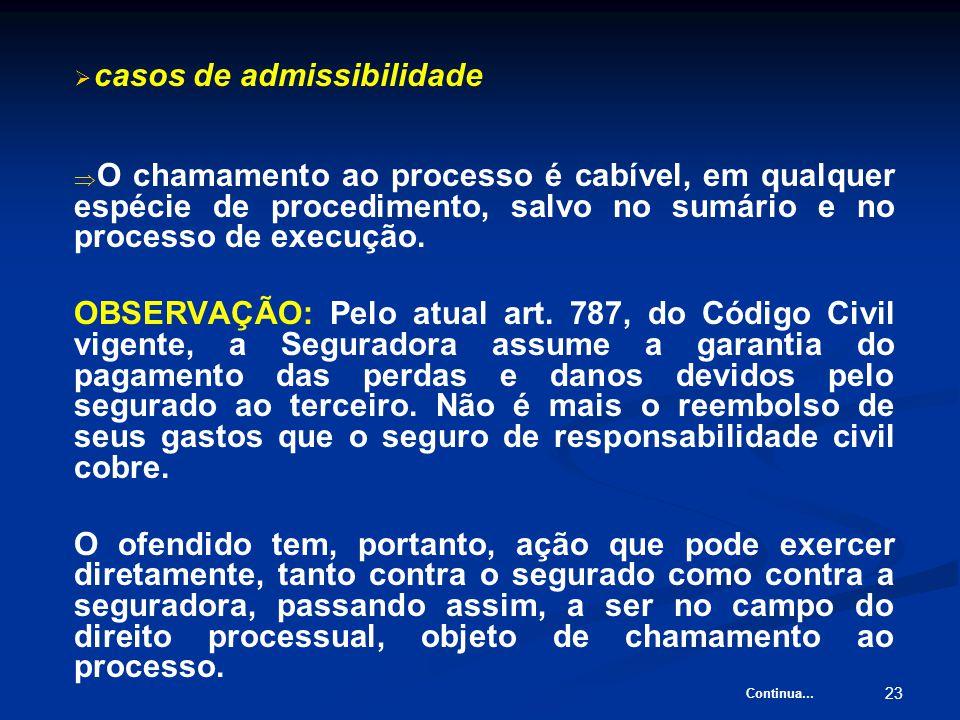 23   casos de admissibilidade   O chamamento ao processo é cabível, em qualquer espécie de procedimento, salvo no sumário e no processo de execução.
