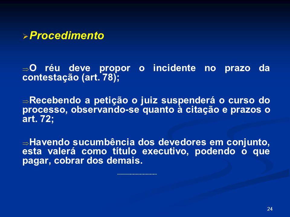 24   Procedimento   O réu deve propor o incidente no prazo da contestação (art.