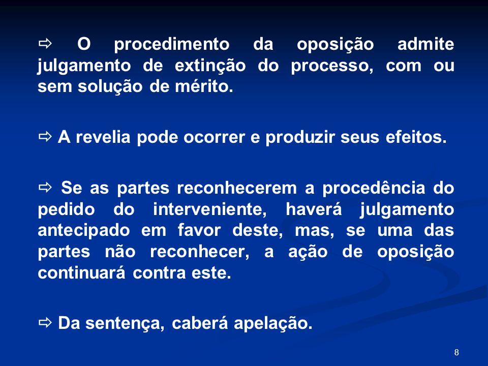 8  O procedimento da oposição admite julgamento de extinção do processo, com ou sem solução de mérito.