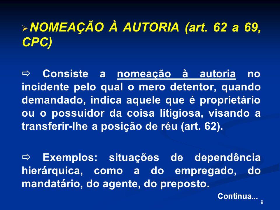 9   NOMEAÇÃO À AUTORIA (art.