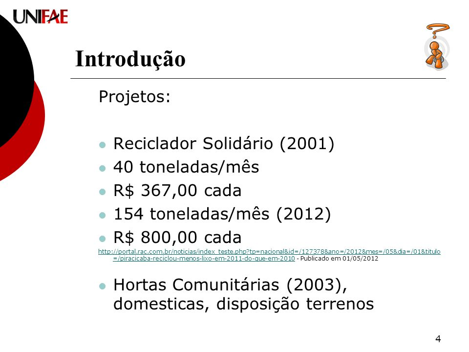 4 Projetos: Reciclador Solidário (2001) 40 toneladas/mês R$ 367,00 cada 154 toneladas/mês (2012) R$ 800,00 cada http://portal.rac.com.br/noticias/index_teste.php tp=nacional&id=/127378&ano=/2012&mes=/05&dia=/01&titulo =/piracicaba-reciclou-menos-lixo-em-2011-do-que-em-2010http://portal.rac.com.br/noticias/index_teste.php tp=nacional&id=/127378&ano=/2012&mes=/05&dia=/01&titulo =/piracicaba-reciclou-menos-lixo-em-2011-do-que-em-2010 - Publicado em 01/05/2012 Hortas Comunitárias (2003), domesticas, disposição terrenos Introdução
