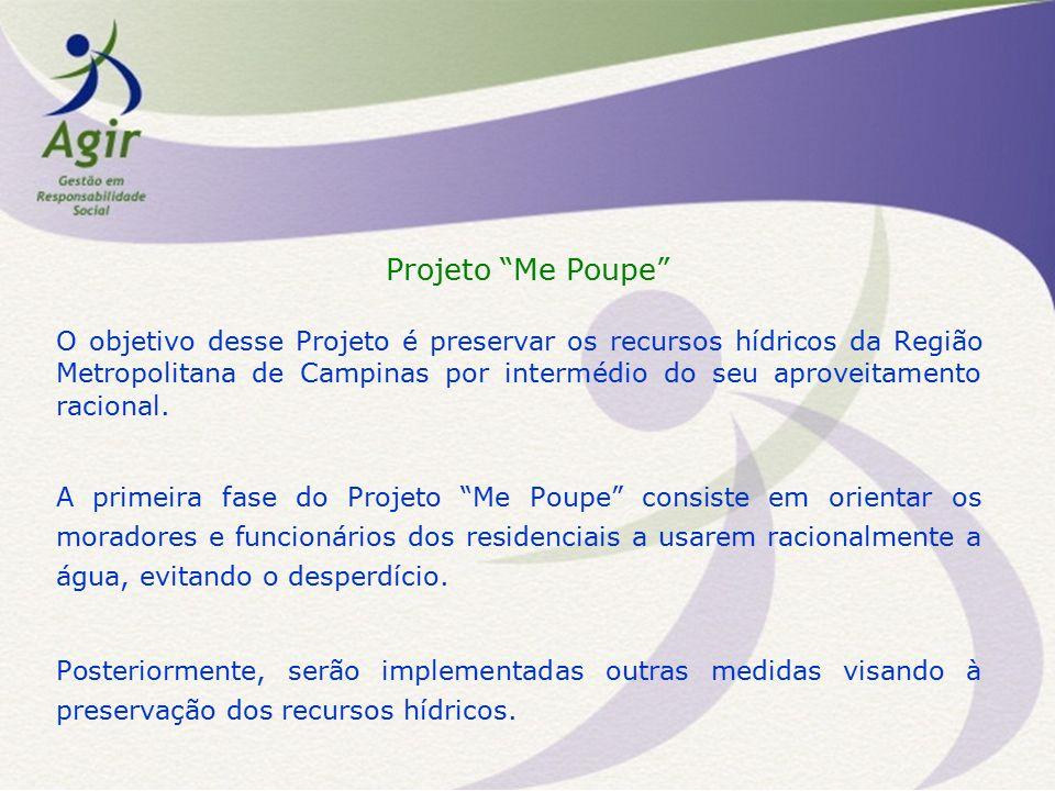 Projeto Me Poupe O objetivo desse Projeto é preservar os recursos hídricos da Região Metropolitana de Campinas por intermédio do seu aproveitamento racional.