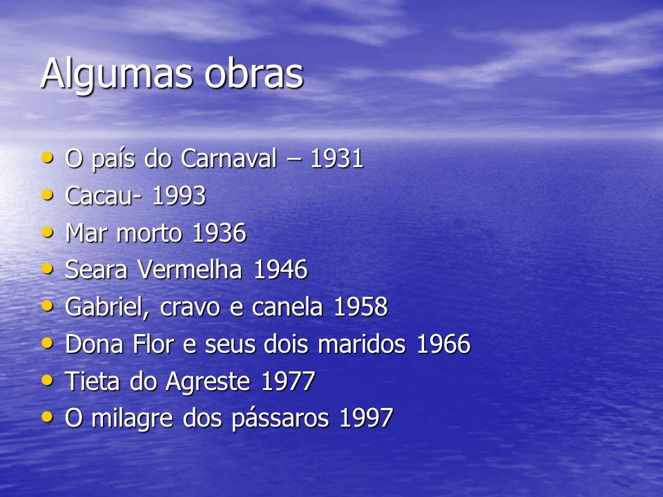 Algumas obras O país do Carnaval – 1931 O país do Carnaval – 1931 Cacau- 1993 Cacau- 1993 Mar morto 1936 Mar morto 1936 Seara Vermelha 1946 Seara Verm