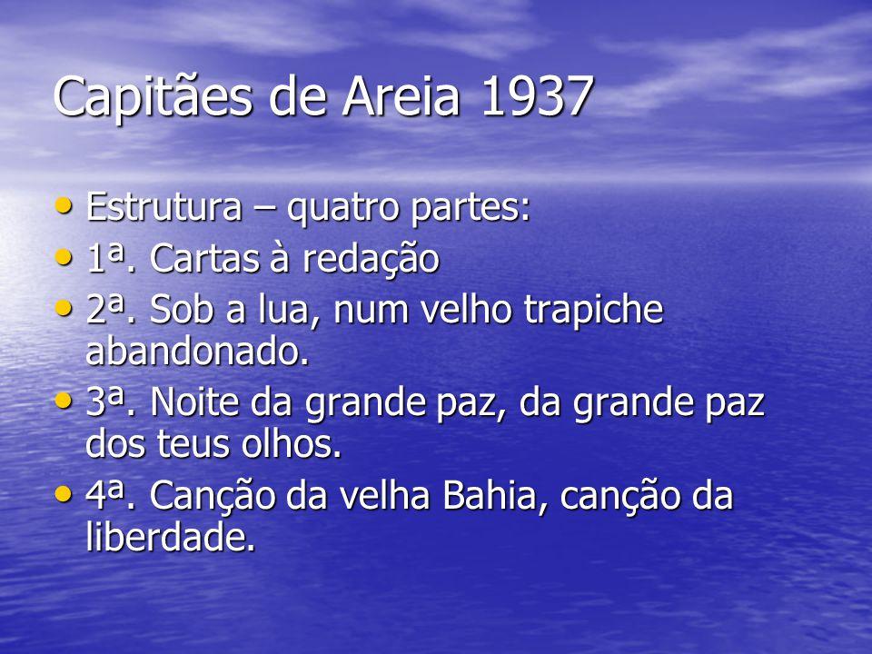 Capitães de Areia 1937 Estrutura – quatro partes: Estrutura – quatro partes: 1ª. Cartas à redação 1ª. Cartas à redação 2ª. Sob a lua, num velho trapic