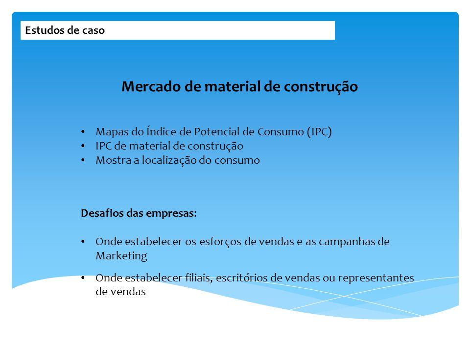 Estudos de caso Mapas do Índice de Potencial de Consumo (IPC) IPC de material de construção Mostra a localização do consumo Mercado de material de con