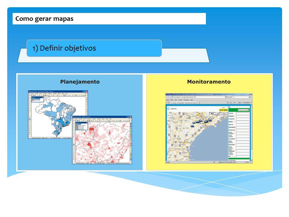 Como gerar mapas 1) Definir objetivos