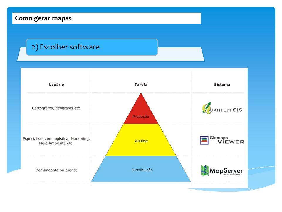 Como gerar mapas 2) Escolher software