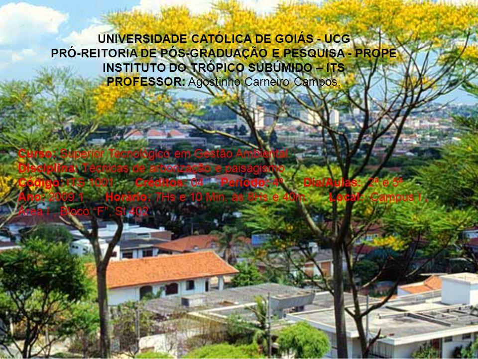 UNIVERSIDADE CATÓLICA DE GOIÁS - UCG PRÓ-REITORIA DE PÓS-GRADUAÇÃO E PESQUISA - PROPE INSTITUTO DO TRÓPICO SUBÚMIDO – ITS PROFESSOR: Agostinho Carneir