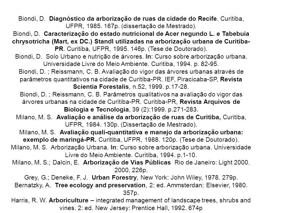 Biondi, D. Diagnóstico da arborização de ruas da cidade do Recife. Curitiba, UFPR, 1985. 167p. (dissertação de Mestrado). Biondi, D. Caracterização do