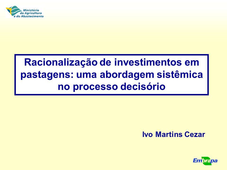 Racionalização de investimentos em pastagens: uma abordagem sistêmica no processo decisório Ivo Martins Cezar