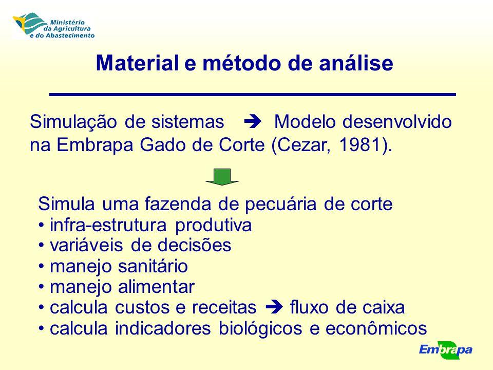 Material e método de análise Simulação de sistemas  Modelo desenvolvido na Embrapa Gado de Corte (Cezar, 1981). Simula uma fazenda de pecuária de cor