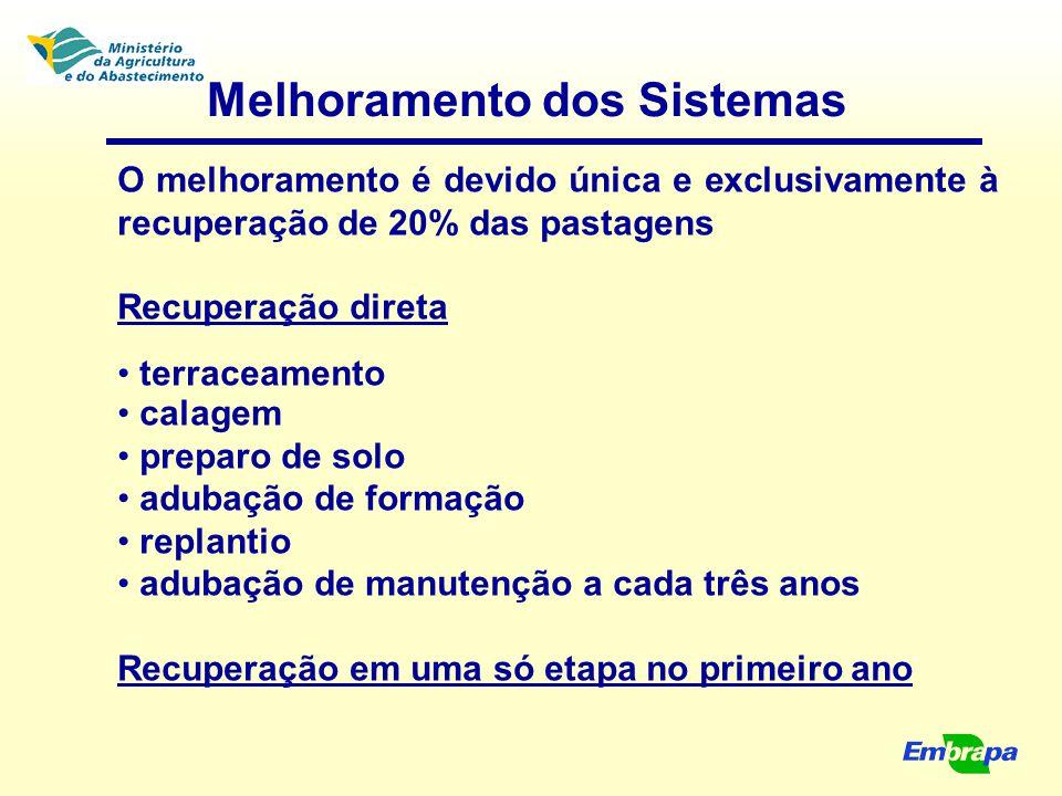 Melhoramento dos Sistemas O melhoramento é devido única e exclusivamente à recuperação de 20% das pastagens Recuperação direta terraceamento calagem p