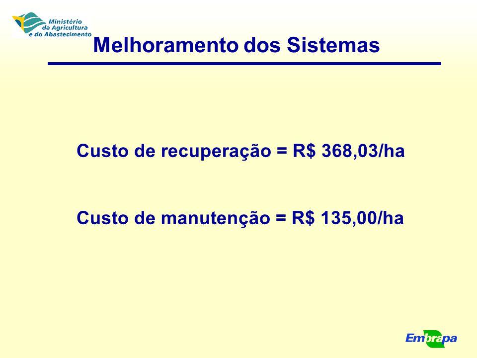 Melhoramento dos Sistemas Custo de recuperação = R$ 368,03/ha Custo de manutenção = R$ 135,00/ha