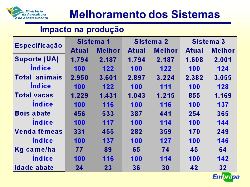 Melhoramento dos Sistemas Impacto na produção
