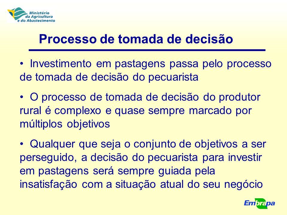 Processo de tomada de decisão Diante do quadro atual, supõe-se que aumentar os desempenhos produtivo e econômico da atividade se constitui no objetivo mais importante das decisões Isto significa que a recuperação das pastagens, como ponto crucial e foco das decisões, não pode ser considerada de forma isolada do contexto geral da atividade da fazenda