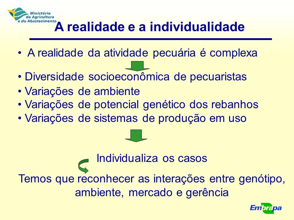 A realidade e a individualidade A realidade da atividade pecuária é complexa Diversidade socioeconômica de pecuaristas Variações de ambiente Variações